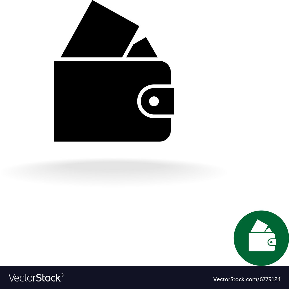 Purse black simple icon with full of money