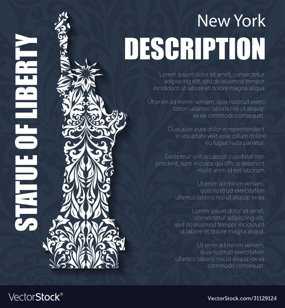 Retro boho floral pattern statue liberty