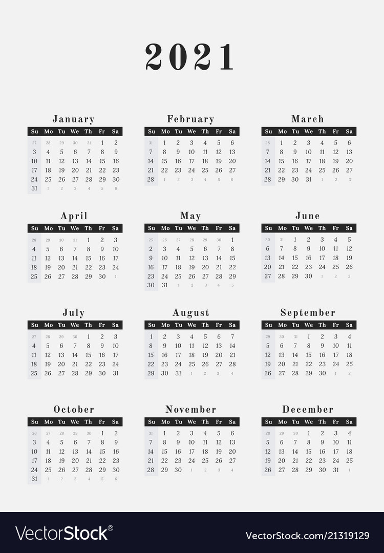 Year Calendar 2021 2021 year calendar vertical design Royalty Free Vector Image