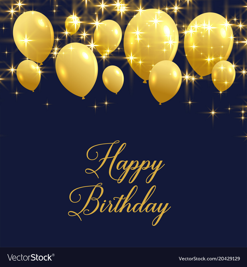 Beautiful Happy Birthday Greeting With Golden Vector Image