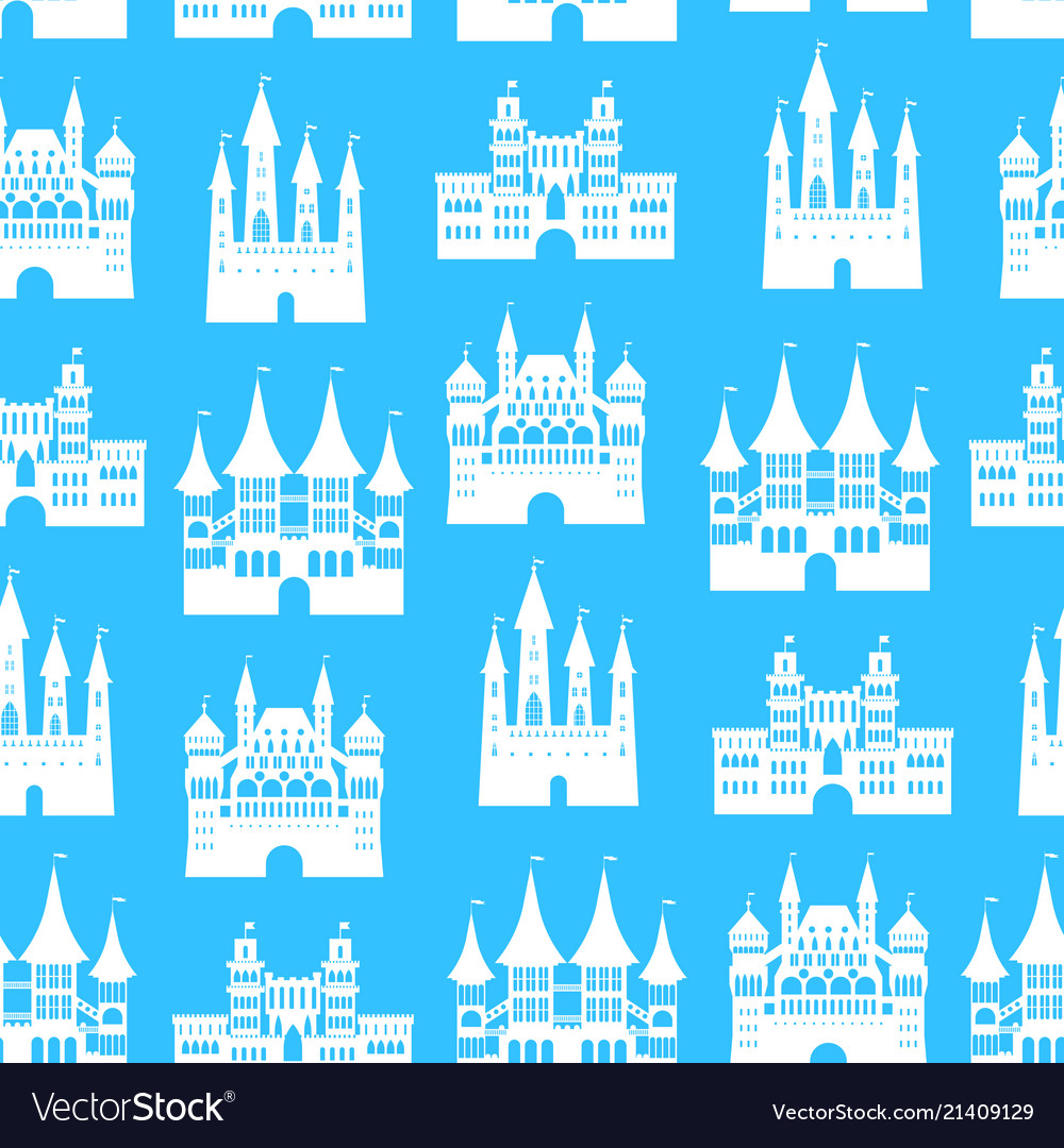Cartoon medieval old castles seamless pattern