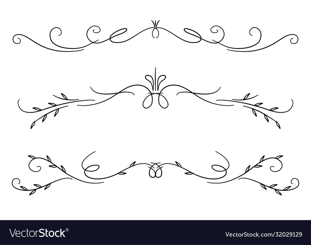 Collection hand drawn decorative calligraphic