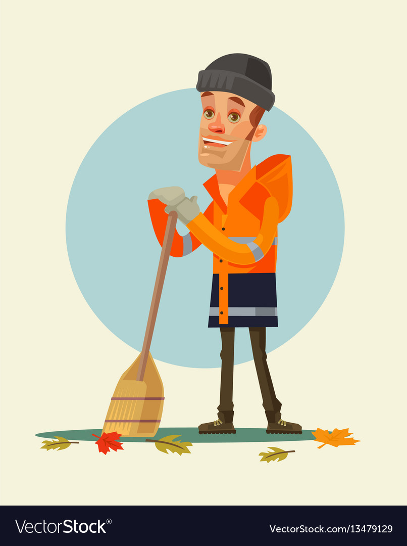 Happy smiling yardman character sweeping leaves