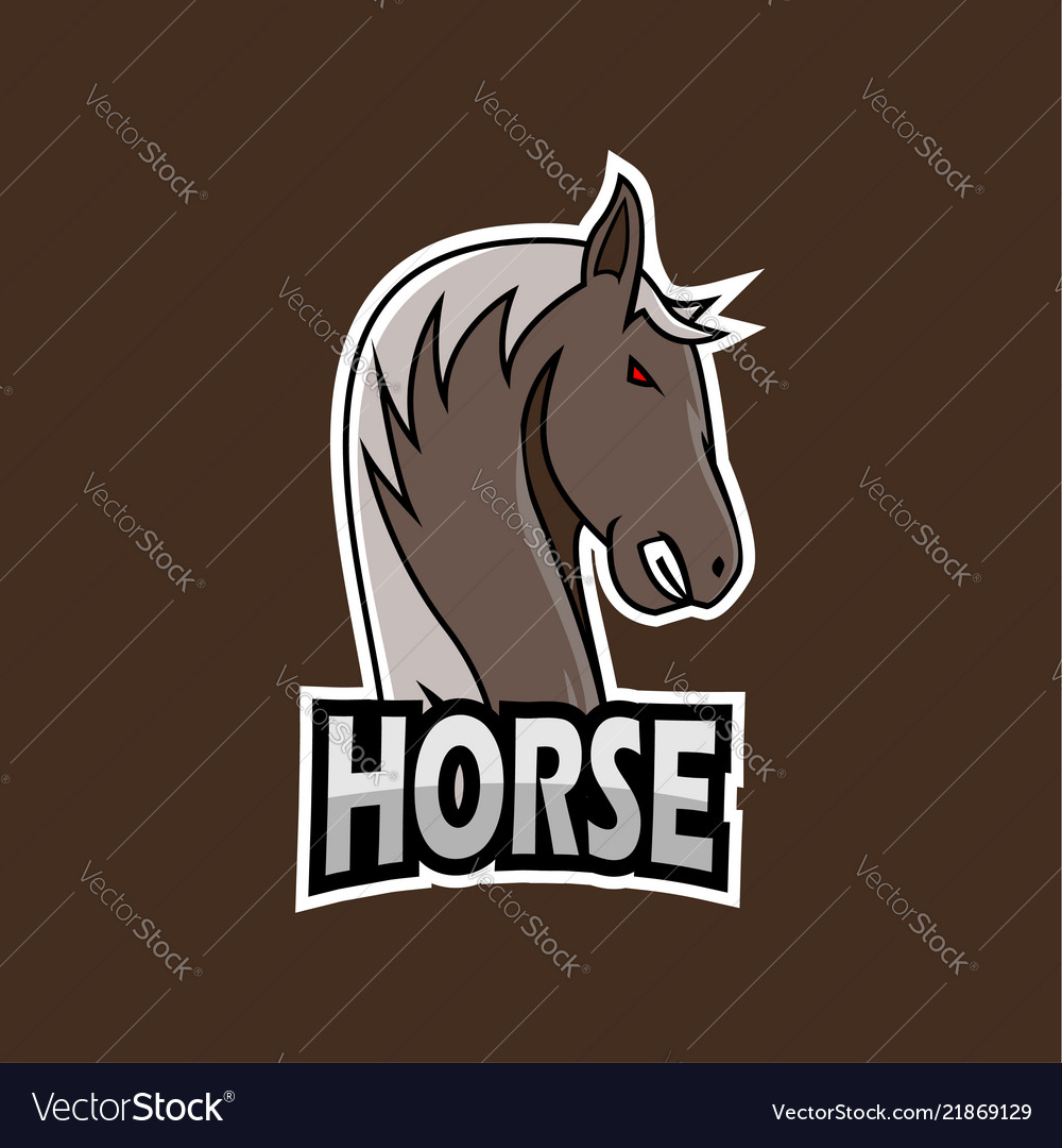 Horse e-sports logo template vector