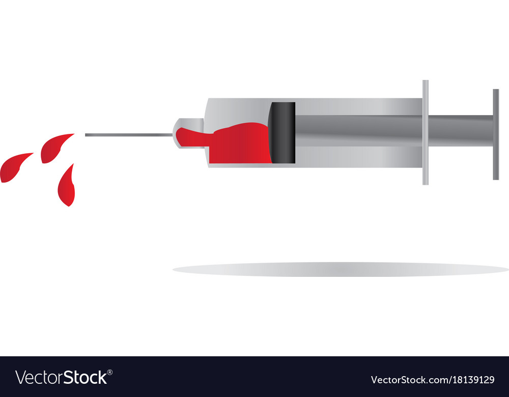 Injection filled with blood symbol for health vector image