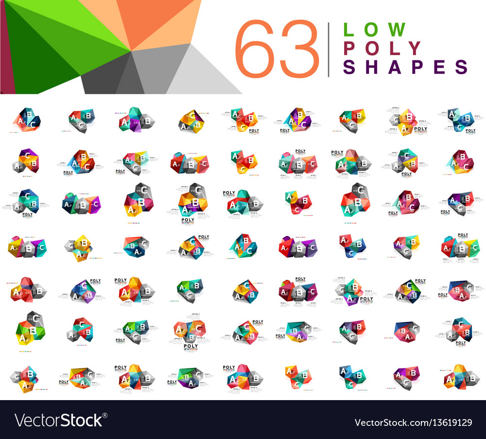Mega collection of 63 triangle low poly design