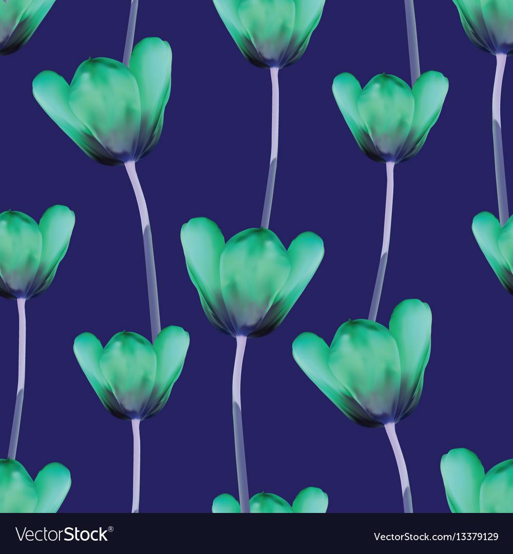 Realistic tulips seamless pattern