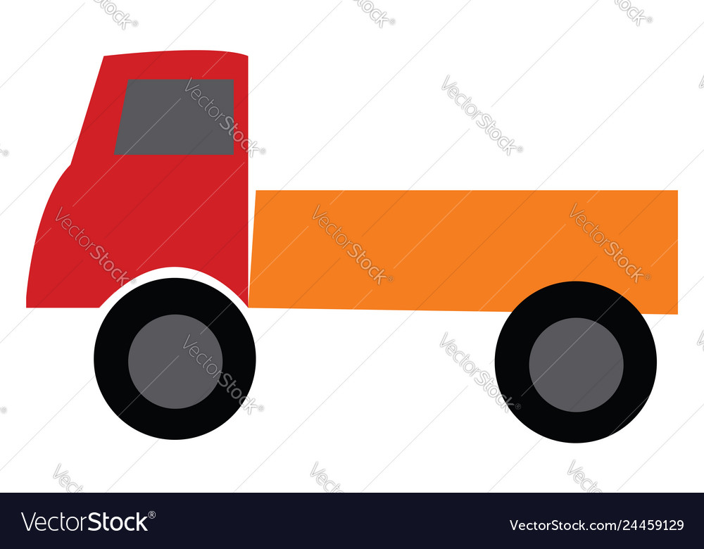 Red and orange toy truck or color