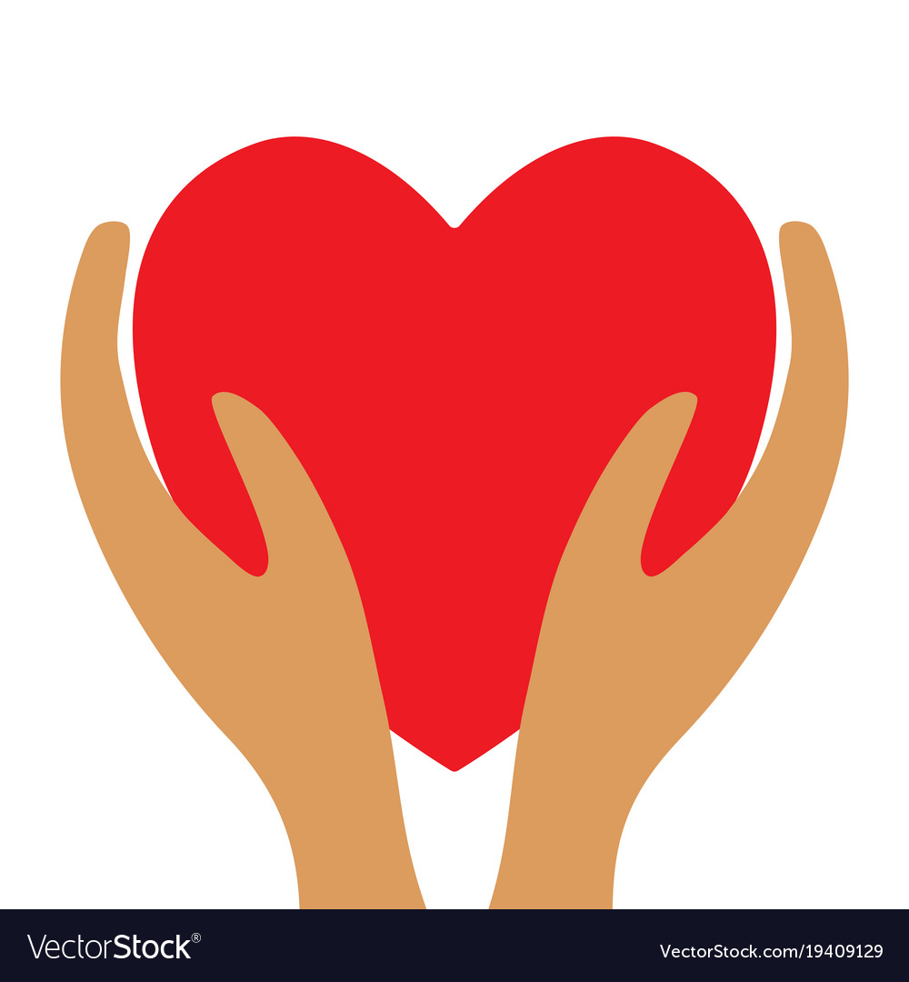 Red heart in hands 3812 vector image