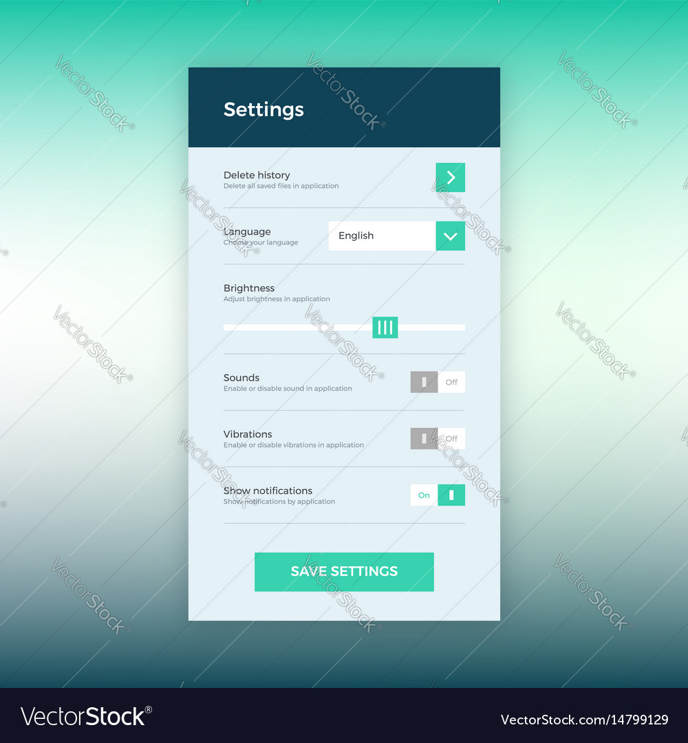 Settings ui app design