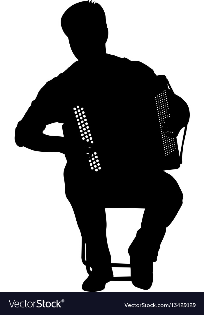 Silhouette musician accordion player on white