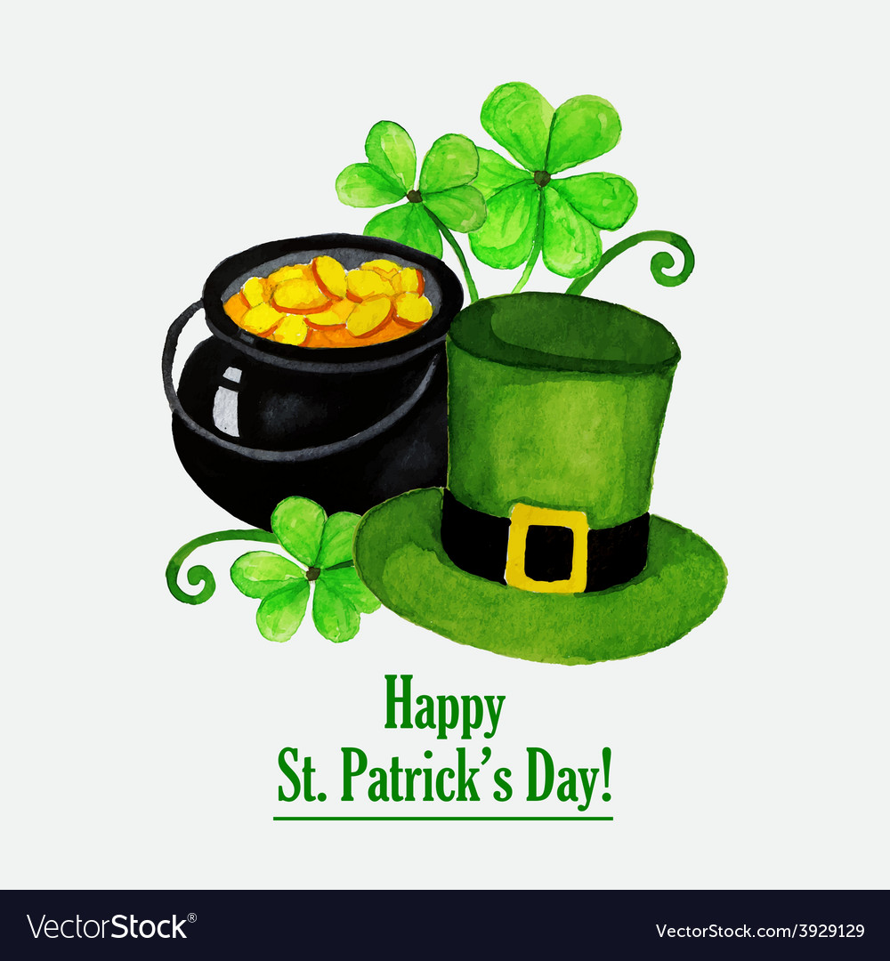 Stpatrick day greeting card with hat coins and vector image
