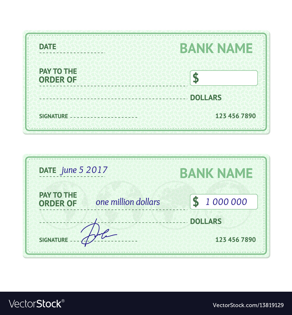 template blank bank check royalty free vector image