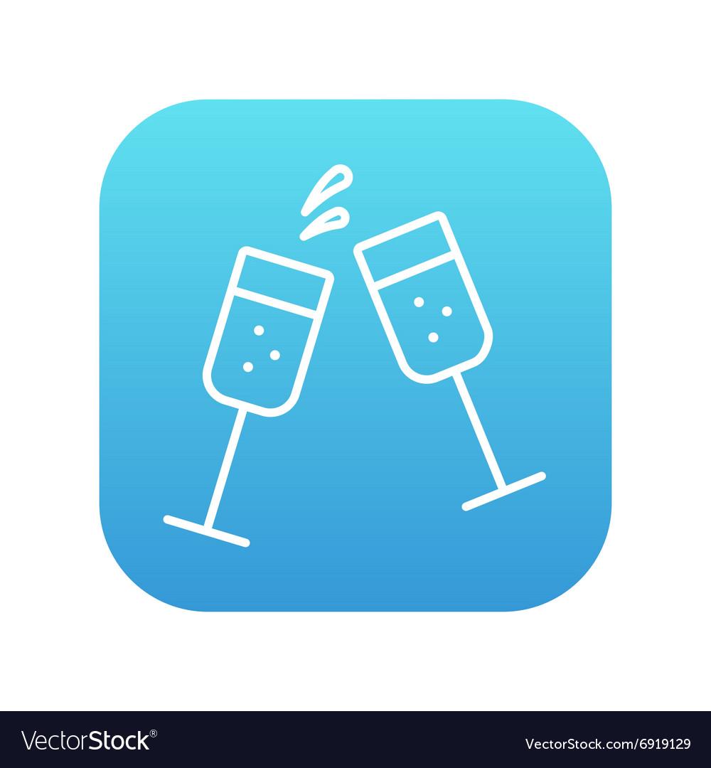 Two glasses of champaign line icon