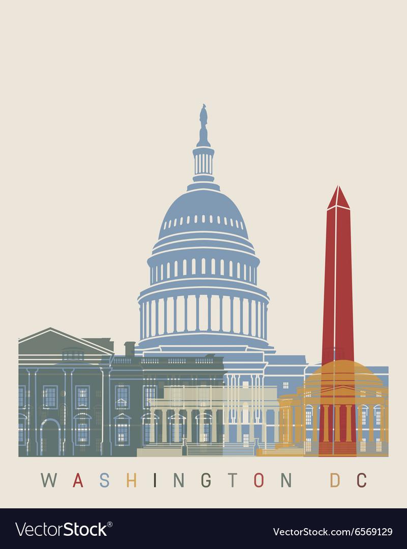 Washington DC skyline poster vector image