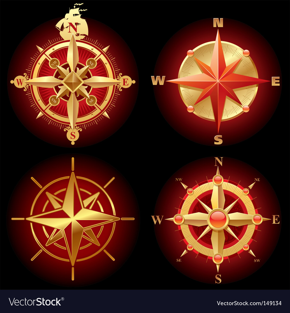 Ancient golden compass rose vector image