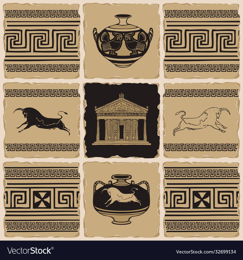 Banner on theme ancient greece with tiles