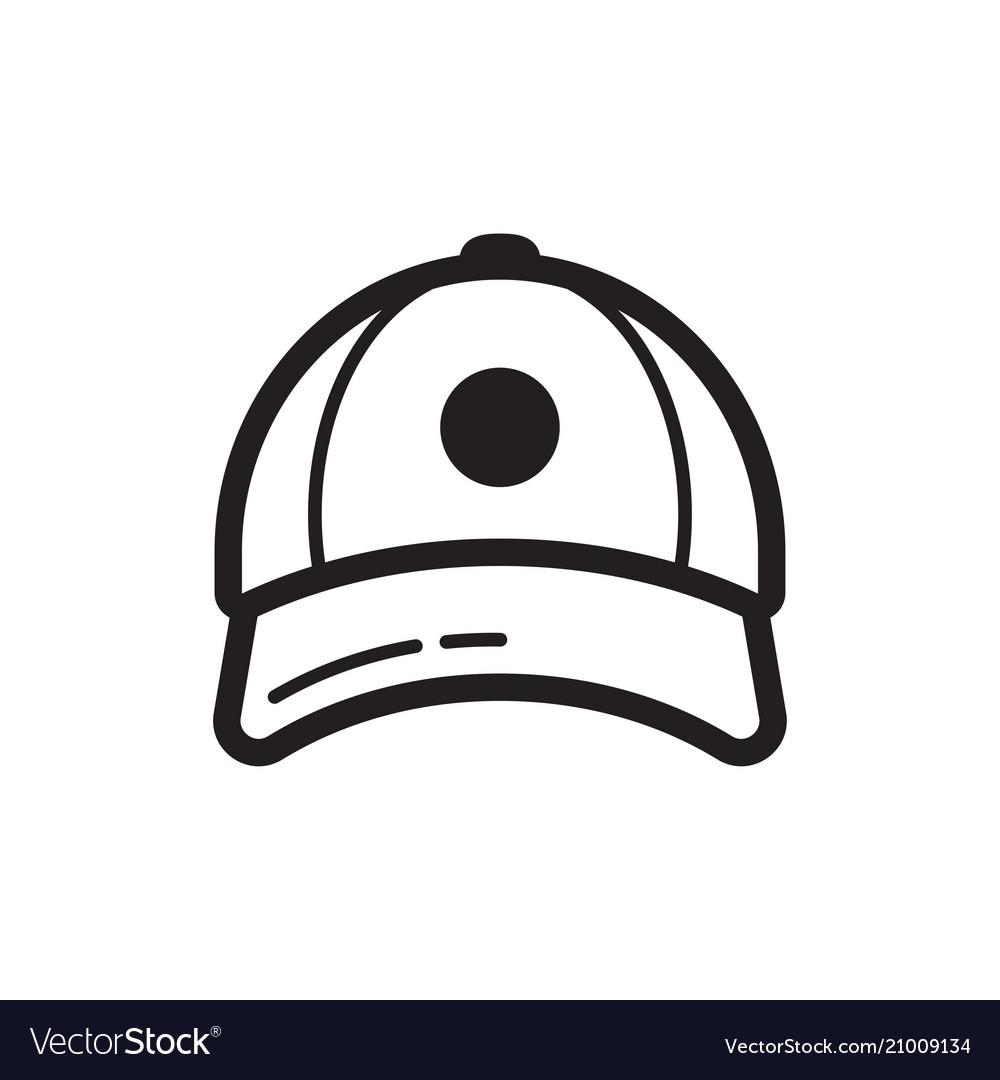 Baseball cap icon flat style design