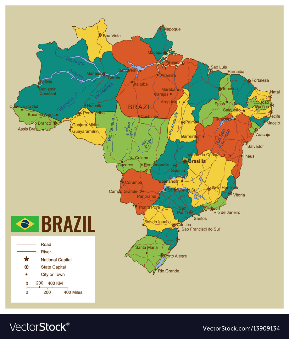Brazil political map with selectable territories