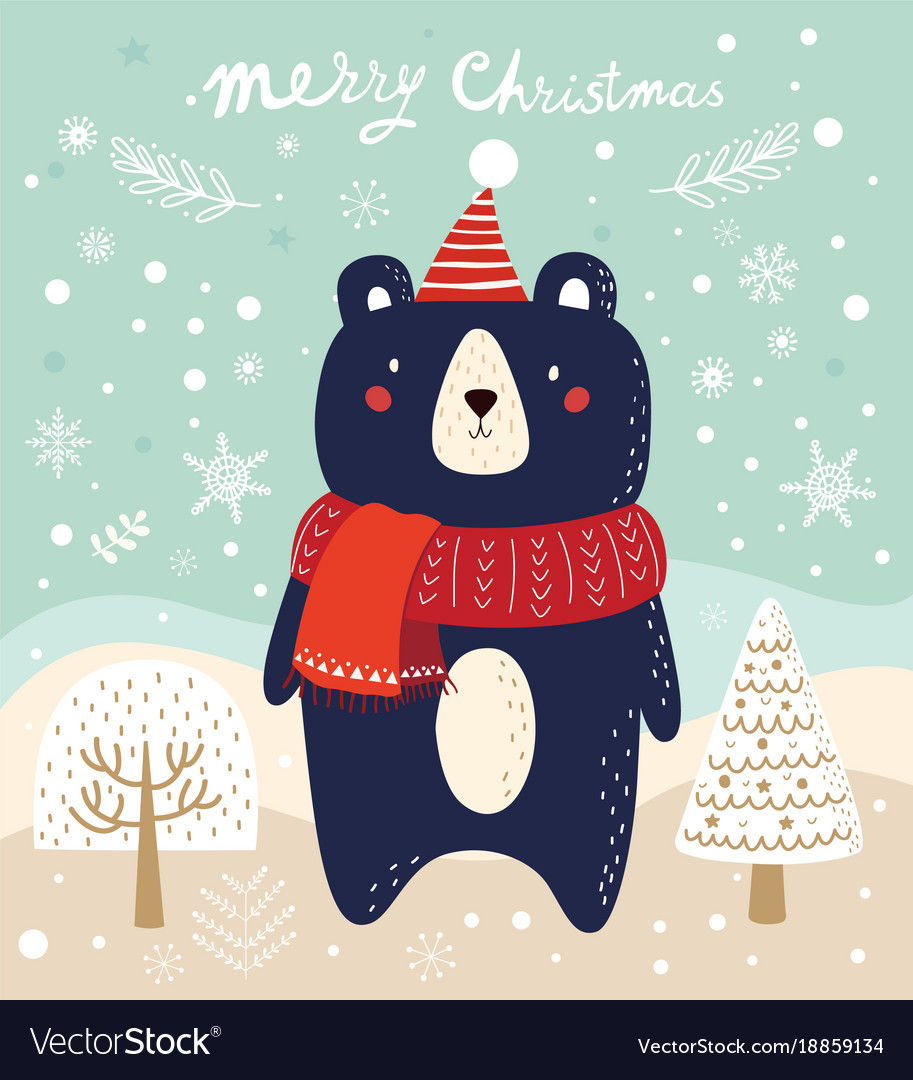 Christmas with bear and trees in cart