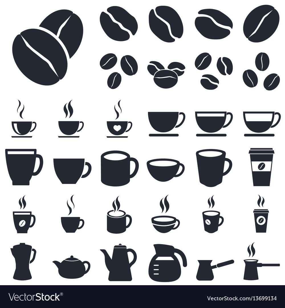 Coffee icons silhouette