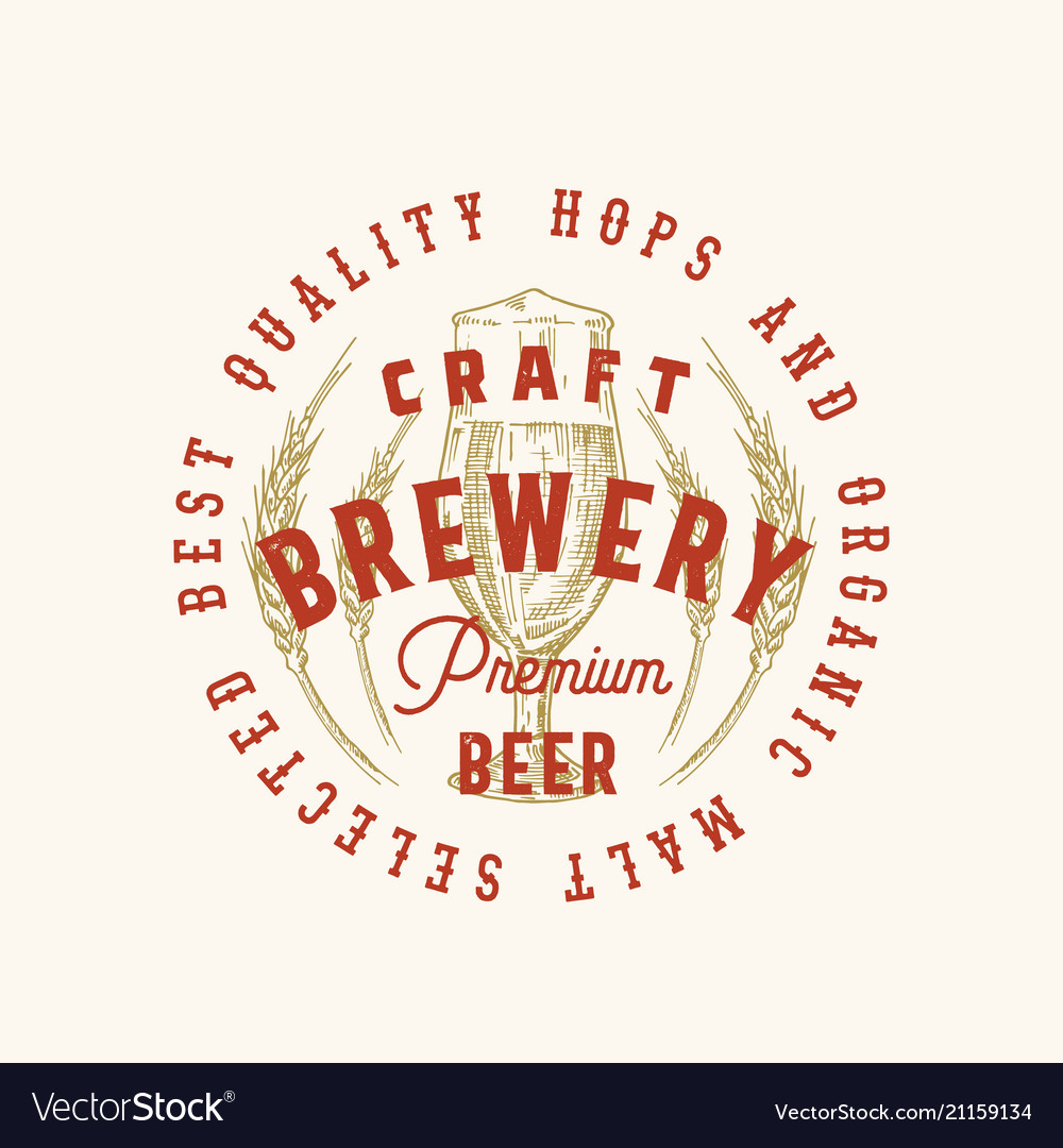 Craft brewery premium beer abstract sign