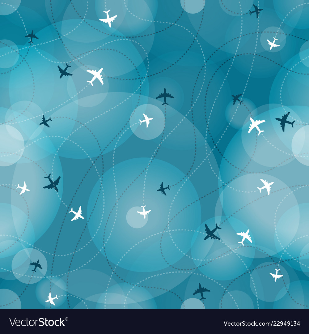 Flying aircrafts seamless background