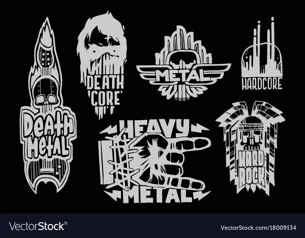 Heavy rock music badge vintage labels with