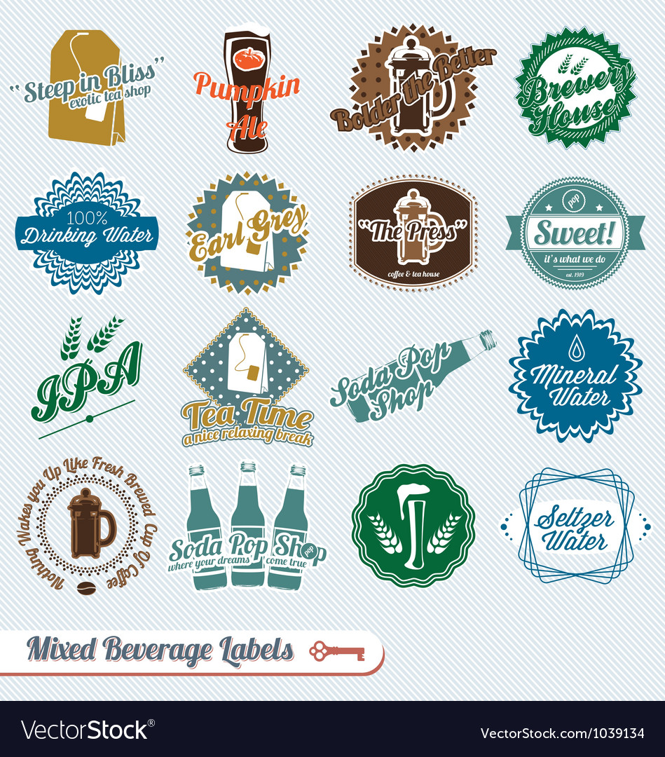 Mixed Collection of Beverages Labels