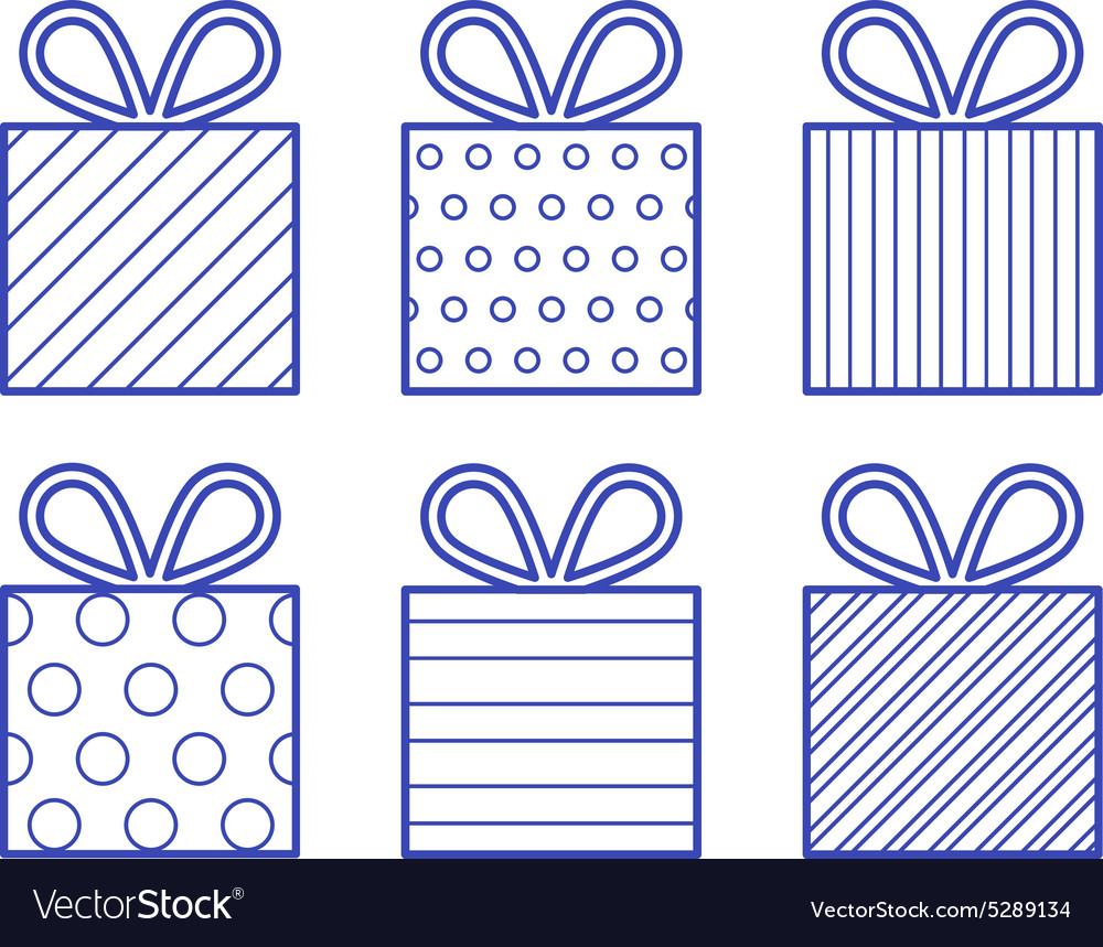 Outline style gift boxes set