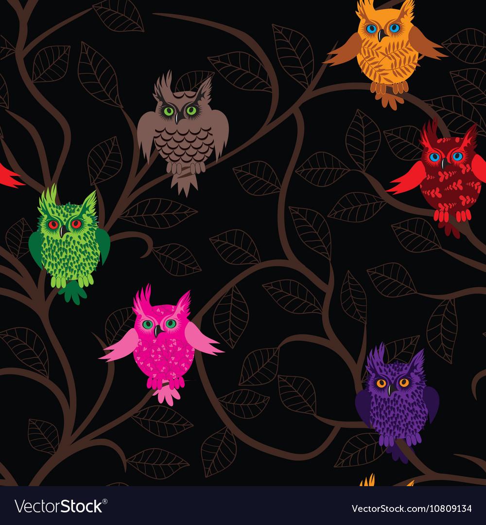 Owl bird seamless funny background with cartoon