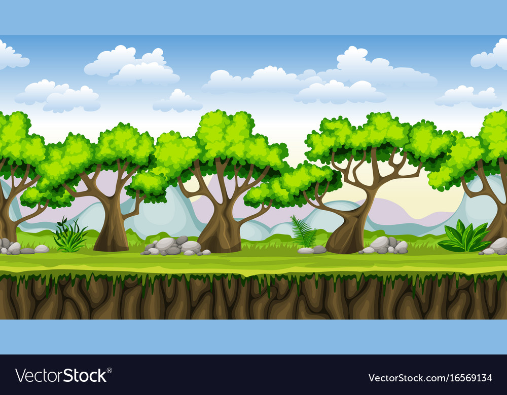 Seamless nature cartoon background with separate