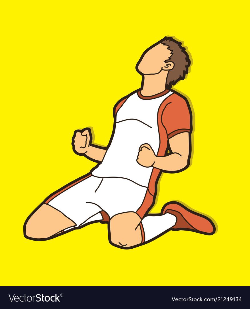 Soccer player the winner action