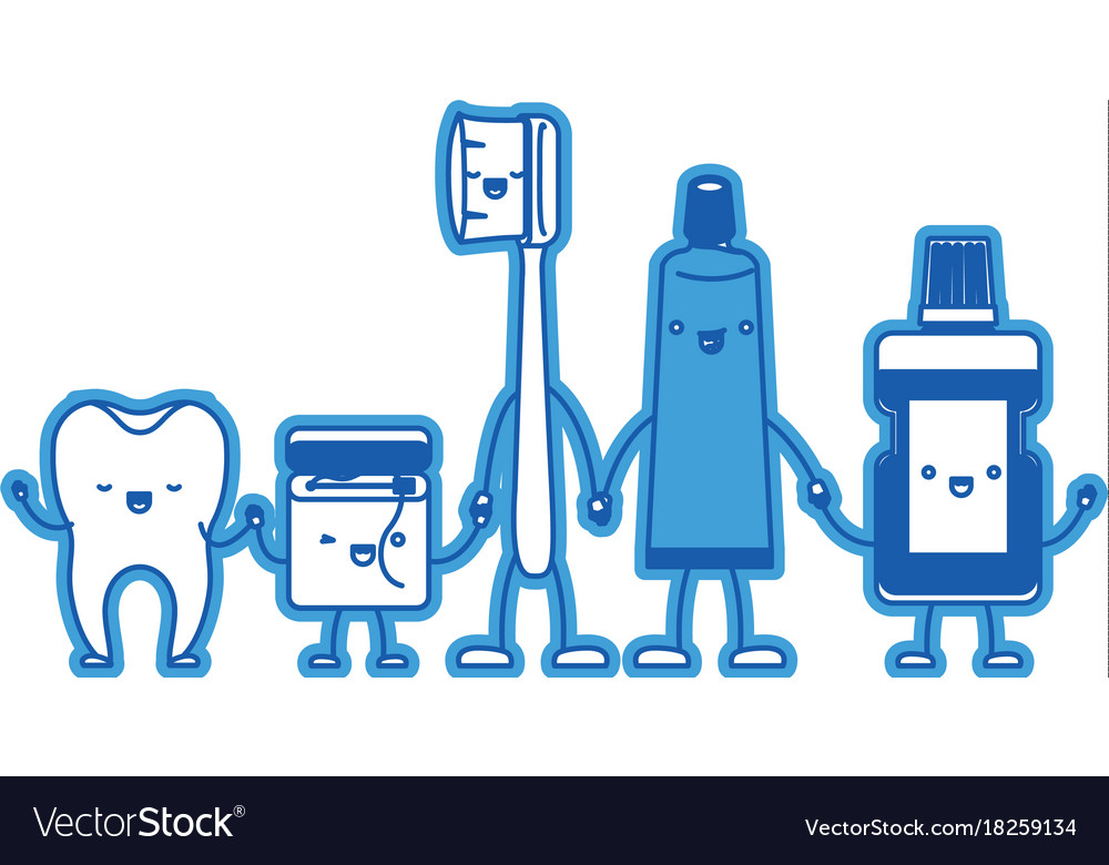 64161b4cd Tooth and dental floss and toothbrush and Vector Image
