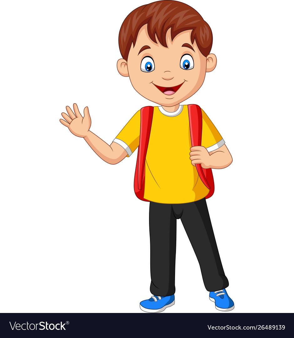 Cartoon school boy carrying backpack waving hand
