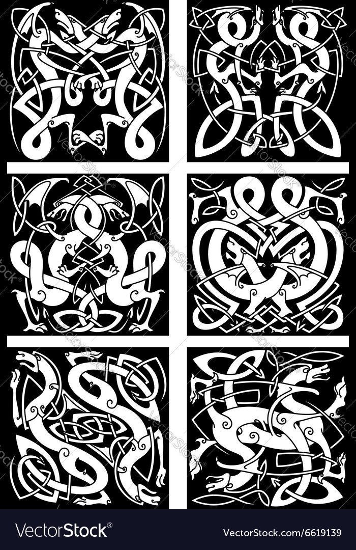 Celtic Knot Patterns With Tribal Dragons Vector Image Custom Celtic Knot Patterns