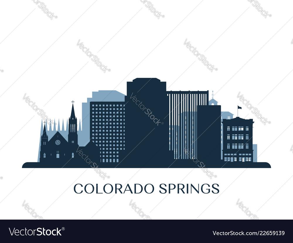 Colorado springs skyline monochrome silhouette