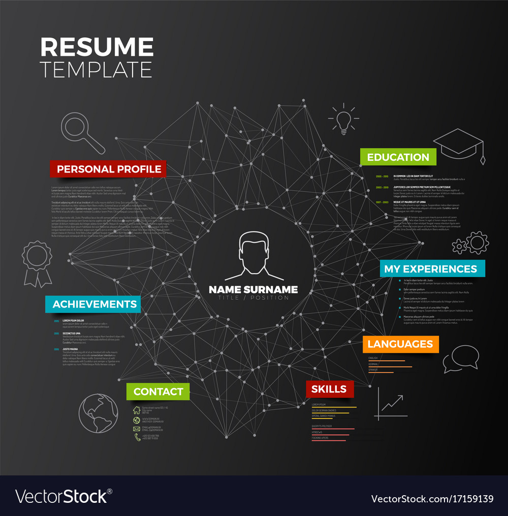 Dark original minimalist cv resume template