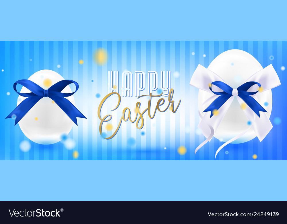 Easter white eggs with silk bow in confetti