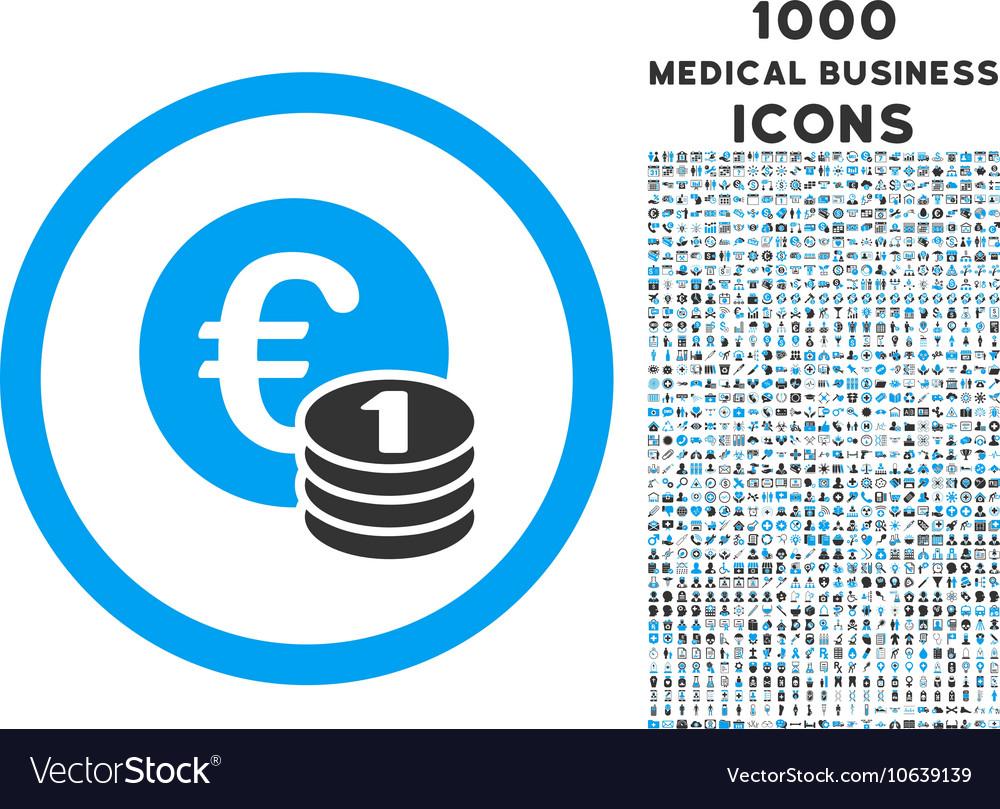 Euro Coins Rounded Icon with 1000 Bonus Icons