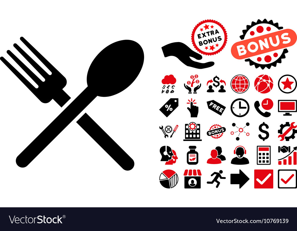Fork and Spoon Flat Icon with Bonus