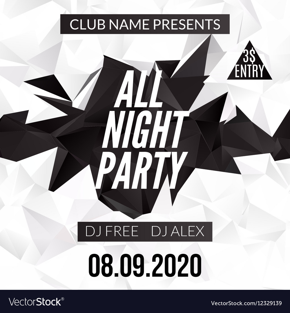 Night Dance Party design template in polygonal