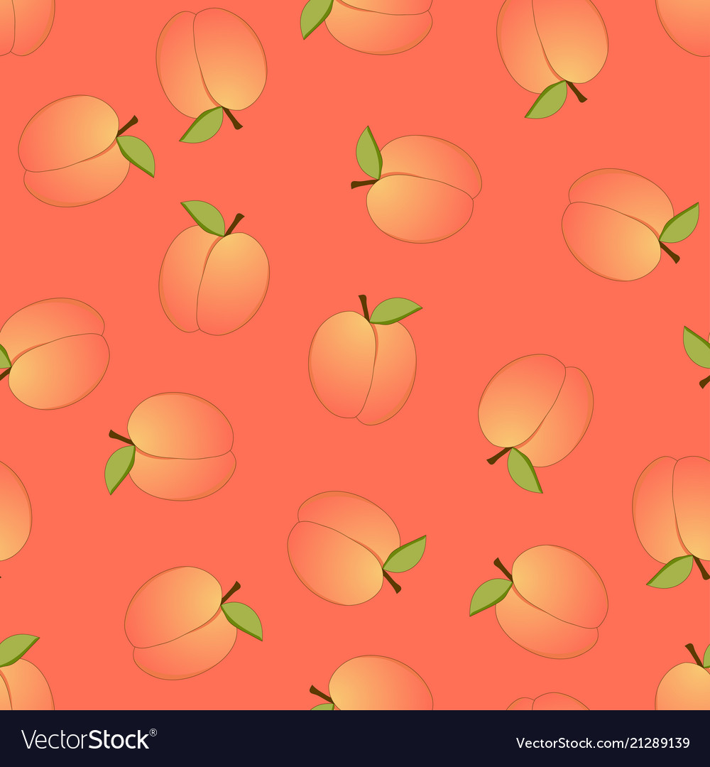 Peach seamless on orange background