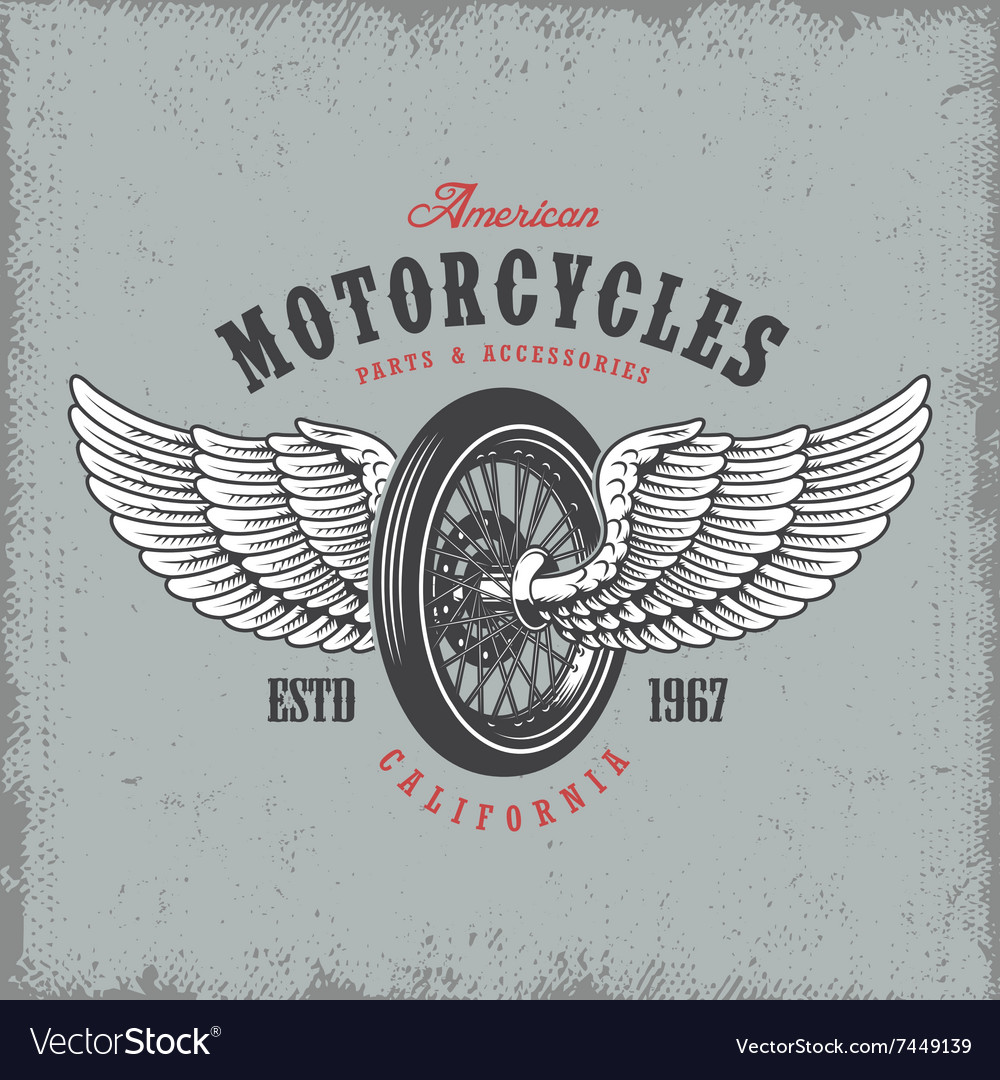 T-shirt print with wheel and wings