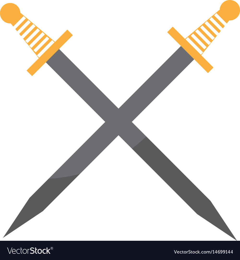 Artistic sword isolated icon vector image