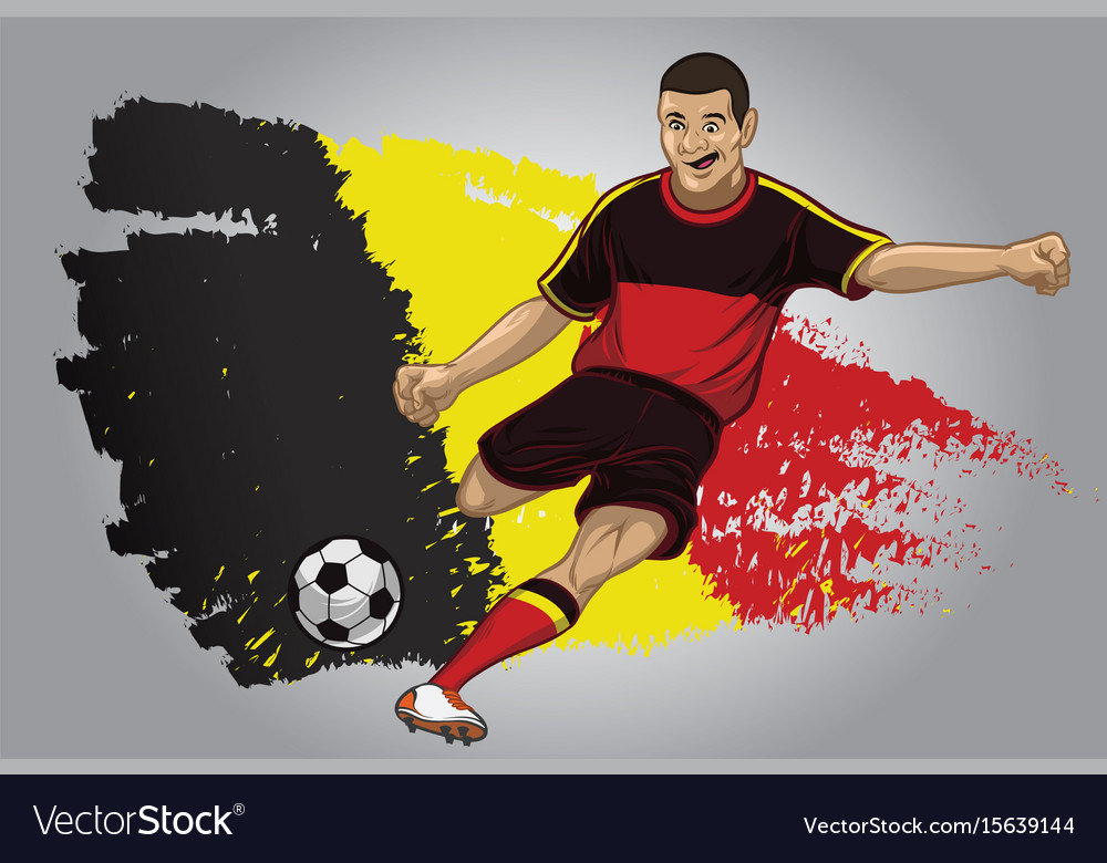 Belgium soccer player with flag as a background