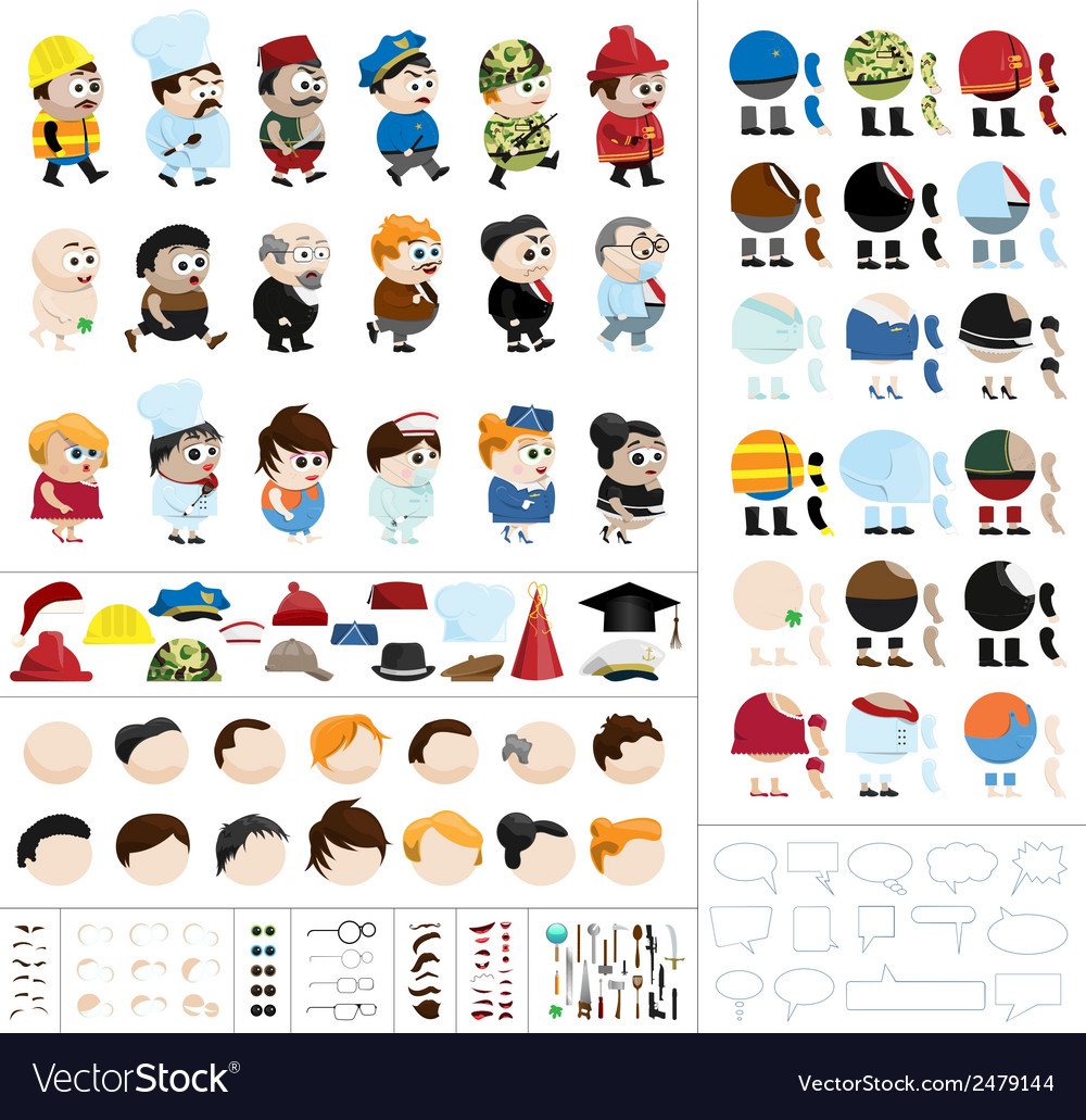 Character creation kit vector image
