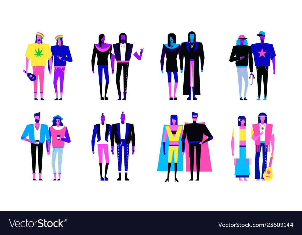 Colorful flat line characters