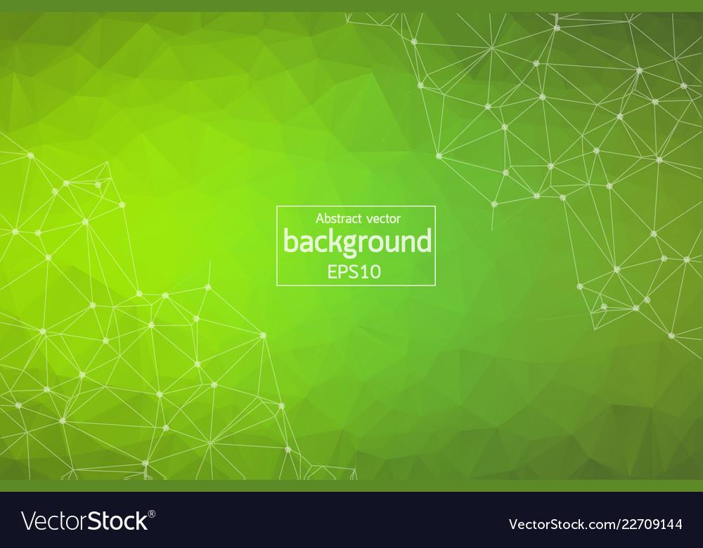 Geometric green polygonal background molecule and