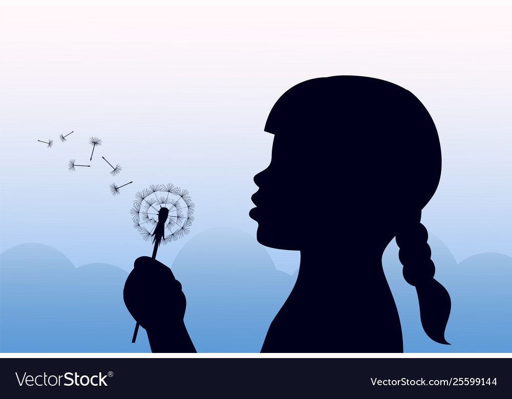 Girl holding a dandelion and blowing